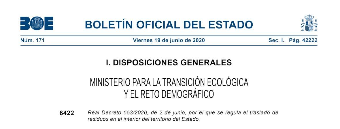 Nuevo Real Decreto 553/2020 que regula el traslado de residuos
